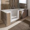 Duschwanne Dobla, begehbare Badewanne mit zuverlässiger Dichtigkeit, Einstieg links
