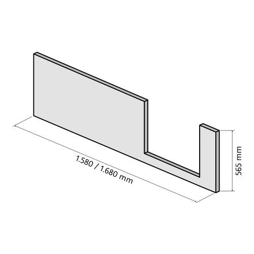 Frontschürze für Dobla Bade- / Duschwanne 170 × 75 cm Einstieg rechts