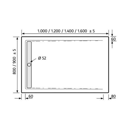 HSK Acryl-Duschwannen-Set mit integrierter Ablaufrinne schmal, superflach 90 × 140 × 7,5 cm 6