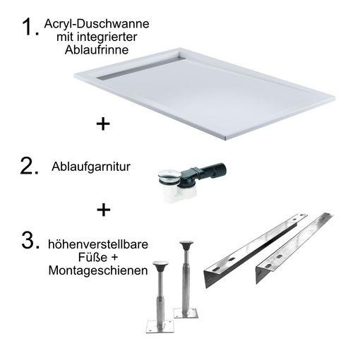 HSK Acryl-Duschwannen-Set mit integrierter Ablaufrinne schmal, superflach 90 × 140 × 7,5 cm 1