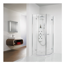 Premium Softcube teilgerahmte Glas - Runddusche mit Drehtüren an Festteilen, Chromoptik 90 x 90 x 200 cm