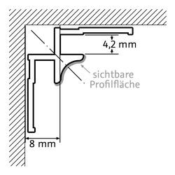 Eckprofil innen, Alu silbermatt oder chrom-optik für Wandverkleidungssysteme RenoDeco und RenoVetro