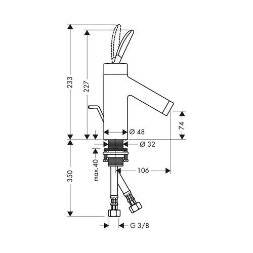 Hansgrohe Axor Starck Classic Einhebel-Waschtischmischer 70 mit Zugstangen-Ablaufgarnitur 1
