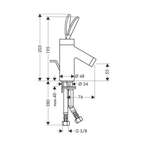 Hansgrohe Axor Starck Classic Einhebel-Waschtischmischer 60 mit Zugstangen-Ablaufgarnitur für Handwaschbecken 1