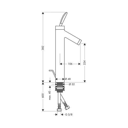 Hansgrohe Axor Starck Classic Einhebel-Waschtischmischer 220 mit Zugstangen-Ablaufgarnitur für Waschschüsseln 1