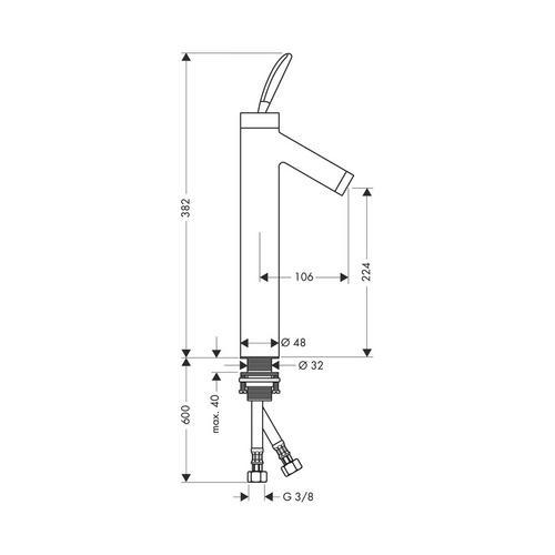 Hansgrohe Axor Starck Classic Einhebel-Waschtischmischer ohne Zugstange für Waschschüsseln 1