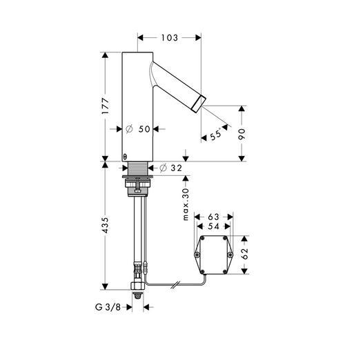 Hansgrohe Axor Starck Elektronik-Waschtischmischer mit Temperaturregulierung Batteriebetrieb 1
