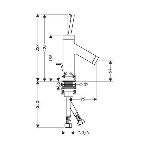 Hansgrohe Axor Starck Einhebel-Waschtischmischer 70 mit Zugstangen-Ablaufgarnitur für Handwaschbecken 1