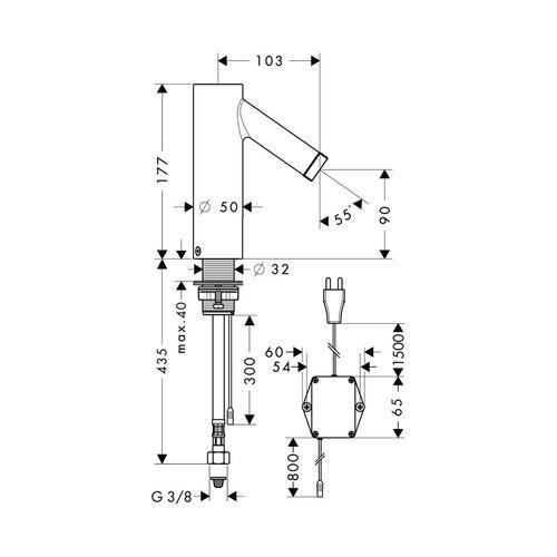 Hansgrohe Axor Starck Elektronik-Waschtischmischer mit Temperaturvoreinstellung mit Netzanschluss 230 V 2