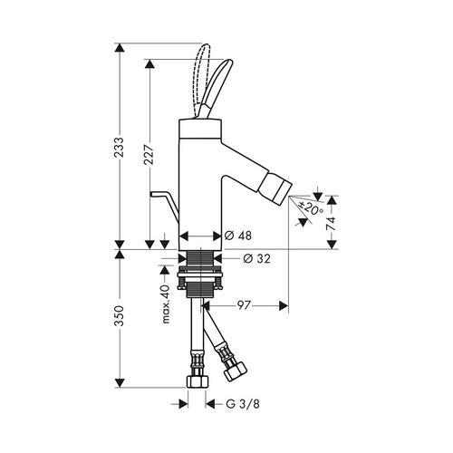 Hansgrohe Axor Starck Classic Einhebel-Bidetmischer mit Zugstangen-Ablaufgarnitur 1