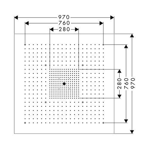 Hansgrohe Axor ShowerCollection ShowerHeaven 97 x 97 cm 3jet ohne Beleuchtung edelstahl 1