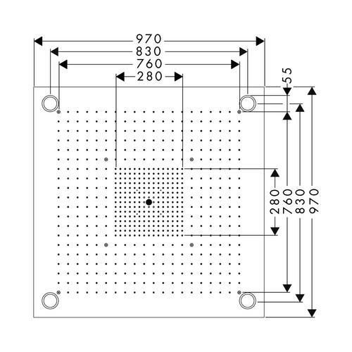 Hansgrohe Axor ShowerCollection ShowerHeaven 97 x 97 cm 3jet mit Beleuchtung edelstahl 1