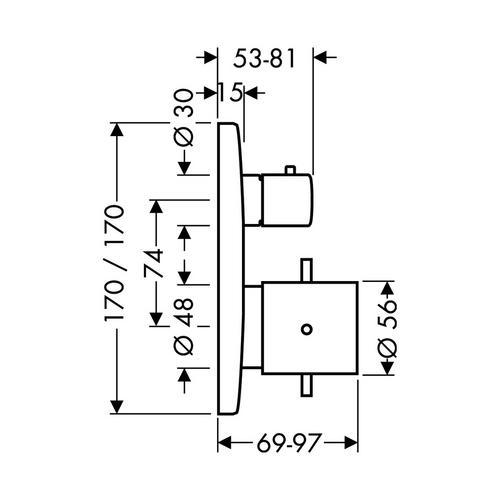 Hansgrohe Axor Starck X Thermostat Unterputz mit Ab- und Umstellventil 1