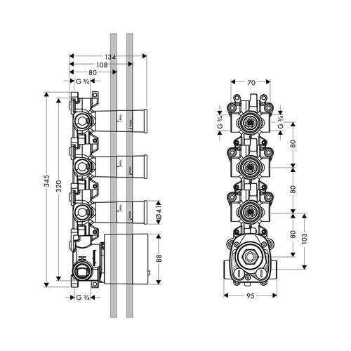 Hansgrohe Axor Starck Organic Grundkörper für Thermostatmodul Unterputz 36 x 12 1