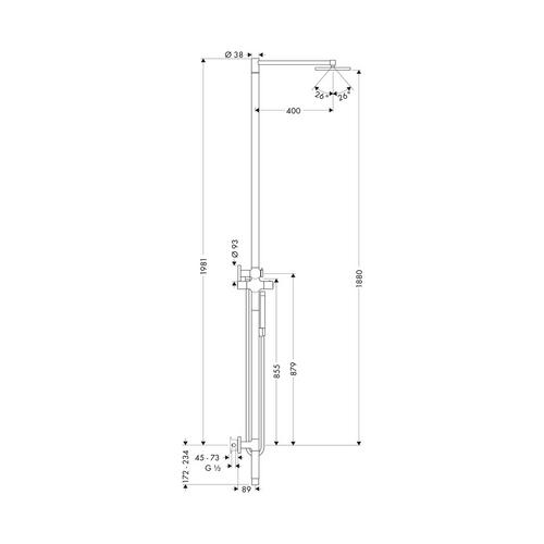 Hansgrohe Axor Starck Duschsäule mit Thermostat und Tellerkopfbrause 24 cm 1jet 1