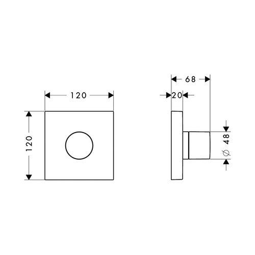 Hansgrohe Axor ShowerCollection Trio/ Quattro Ab- und Umstellventil 12 / 12 cm Square Unterputz 1