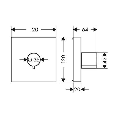 Hansgrohe Axor ShowerSolutions Absperrventil Unterputz 12 x 12 cm 1