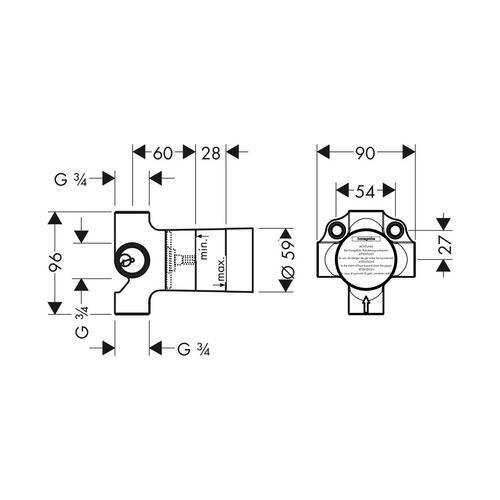 Hansgrohe Grundkörper für Quattro 4-Wege Umstellventil Unterputz 1