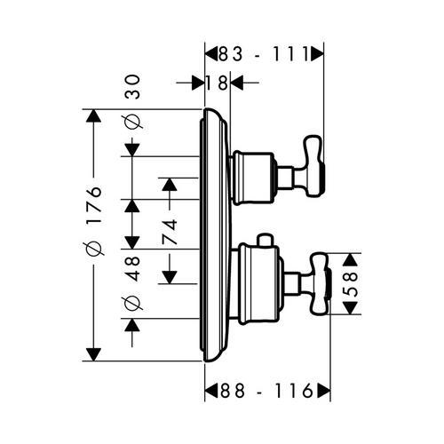 Hansgrohe Axor Montreux Thermostat Unterputz mit Ab- und Umstellventil 1