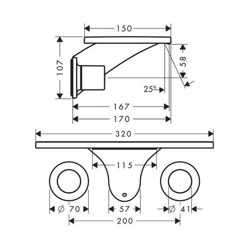 Hansgrohe Axor Massaud 3-Loch Waschtischarmatur Unterputz mit Ausladung 170 mm für Wandmontage 1