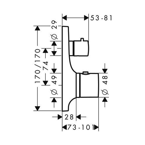 Hansgrohe Axor Massaud Thermostat Unterputz mit Absperrventil 1