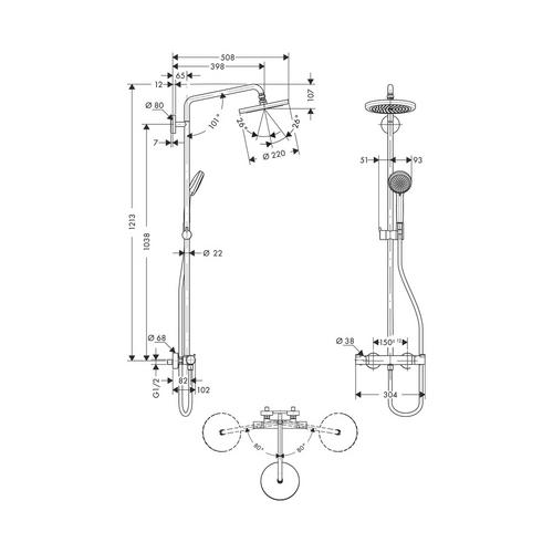 hansgrohe hansgrohe showerpipe croma 220 brausearm 400 mm 27185 design in bad. Black Bedroom Furniture Sets. Home Design Ideas
