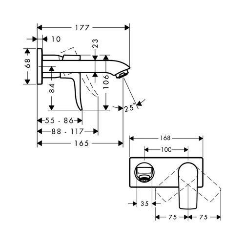 Hansgrohe Metris Waschtischmischer UP kurzer Ausl. 31085 1