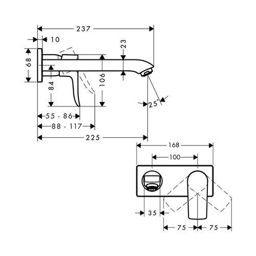 Hansgrohe Metris Waschtischmischer UP Langer Ausl. 31086 1