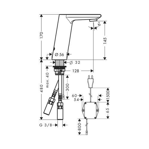 Hansgrohe Waschtischmischer Elektronik Metris S 230V 31102 1