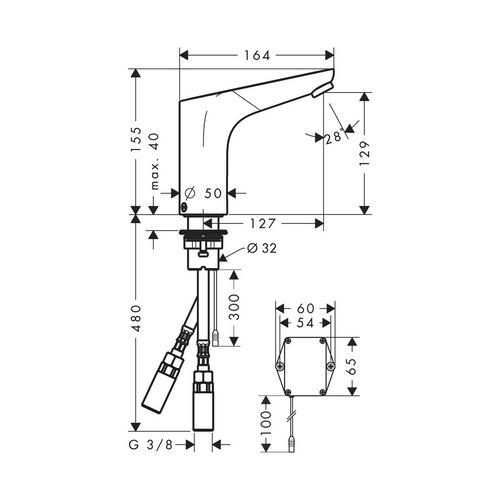 Hansgrohe Waschtischmischer Elektronik Focus Batt. Kaltws. 31172 1