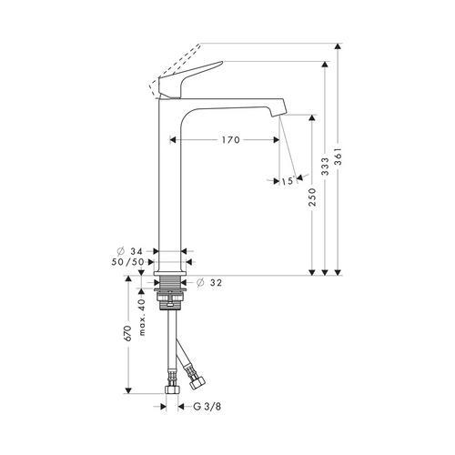 Hansgrohe Axor Citterio M Einhebel-Waschtischmischer ohne Zugstange für Waschschüsseln 1