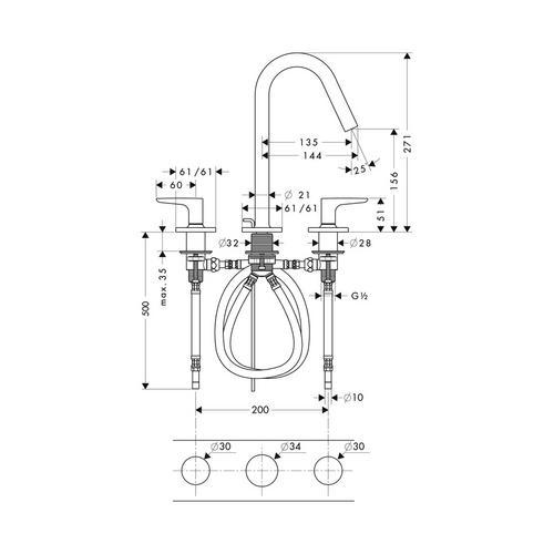 Hansgrohe Axor Citterio M 3-Loch Waschtischarmatur 160 mit Zugstangen-Ablaufgarnitur, Hebelgriffen und Rosetten 1