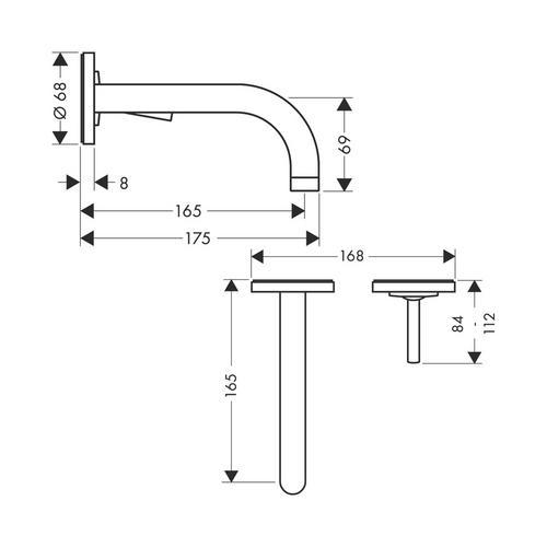 Hansgrohe Axor Uno² Einhebel-Waschtischmischer Unterputz mit Auslauf 16,5 cm und Rosetten für Wandmontage 1