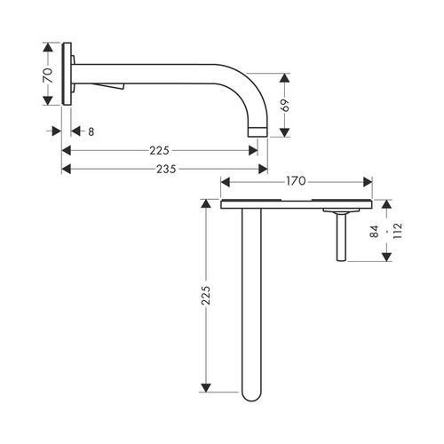 Hansgrohe Axor Uno² Einhebel-Waschtischmischer Unterputz mit Auslauf 225 mm und Platte für Wandmontage 1
