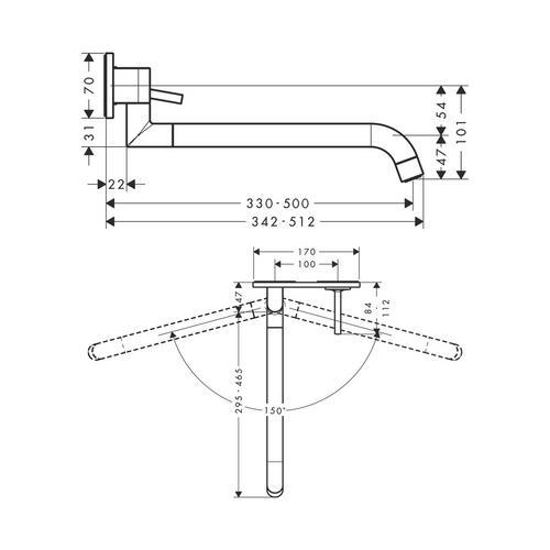 Hansgrohe Axor Uno² Einhebel-Küchenmischer Unterputz für Wandmontage 1