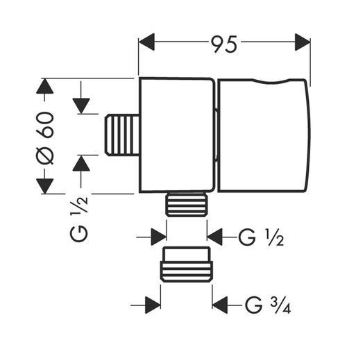 Hansgrohe Axor Uno² Fixfit Stop Schlauchanschluss mit Abstellventil 1