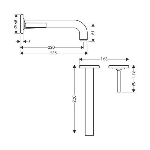 Hansgrohe Axor Citterio Einhebel-Waschtischmischer Unterputz mit Auslauf 165 mm und Rosetten für Wandmontage 1
