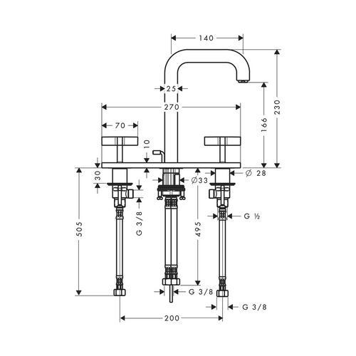 Hansgrohe Axor Citterio 3-Loch Waschtischarmatur 170 mit Zugstangen-Ablaufgarnitur und Auslauf 140 mm, Kreuzgriffe und Platte 1