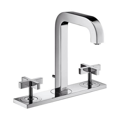 Hansgrohe Axor Citterio 3-Loch Waschtischarmatur 170 mit Zugstangen-Ablaufgarnitur und Auslauf 140 mm, Kreuzgriffe und Platte 0