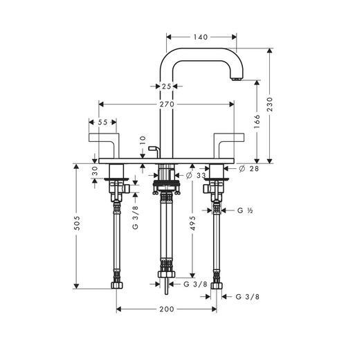 Hansgrohe Axor Citterio 3-Loch Waschtischarmatur 170 mit Zugstangen-Ablaufgarnitur und Auslauf 140 mm, Hebelgriffe und Platte 1