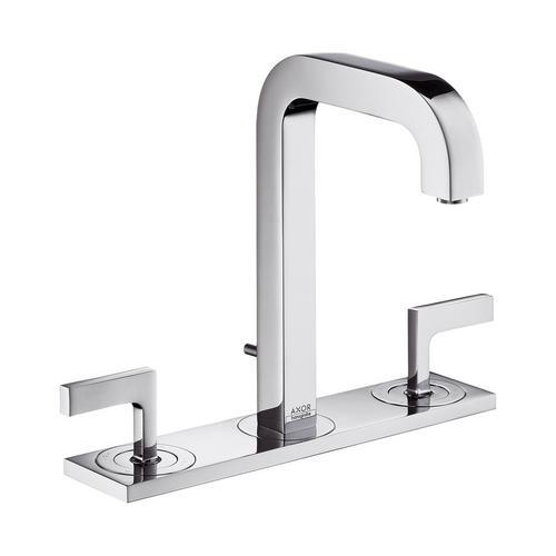 Axor Citterio 3-Loch Waschtischarmatur 170 mit Zugstangen-Ablaufgarnitur und Auslauf 140 mm, Hebelgriffe und Platte