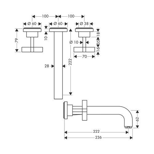 Hansgrohe Axor Citterio 3-Loch Waschtischarmatur Unterputz mit Auslauf 222 mm, Kreuzgriffe und Rosetten für Wandmontage 1