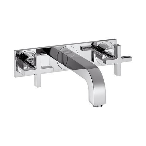 Axor Citterio 3-Loch Waschtischarmatur Unterputz mit Auslauf 226 mm, Kreuzgriffe und Platte für Wandmontage