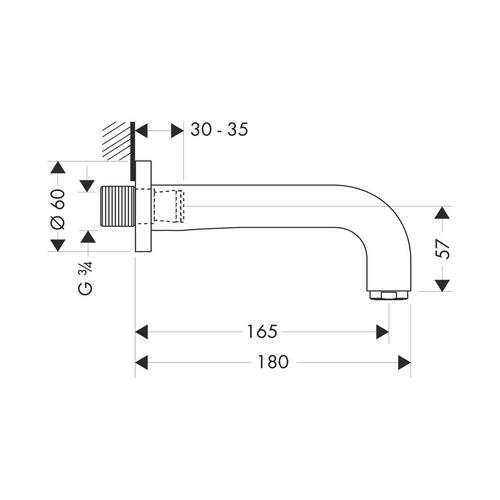 Hansgrohe Axor Citterio Wanneneinlauf 165 mm, DN20 chrom 3941000 1