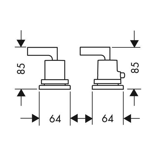 Hansgrohe Axor Citterio 2-Loch Wannenrandarmatur mit Thermostat und Hebelgriffen 1