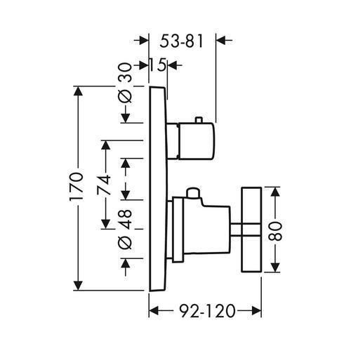 Hansgrohe Axor Citterio Thermostat Unterputz mit Abstellventil und Kreuzgriff 1