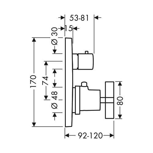 Hansgrohe Axor Citterio Thermostat Unterputz mit Ab- und Umstellventil und Kreuzgriff 1