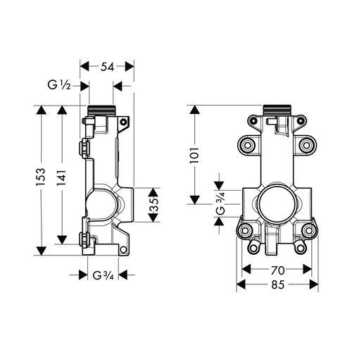 Hansgrohe Axor ShowerSolutions Grundkörper / Wasserführung für Ablage Unterputz 12 x 12 1