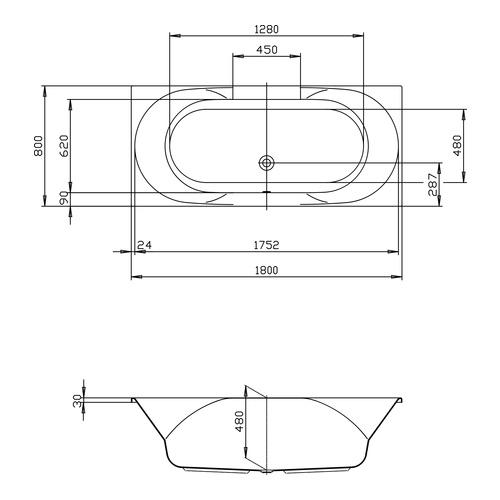 HO BW Spectra 1800x800, weiß - Design in Bad | {Badewanne mit duschzone 180 70}
