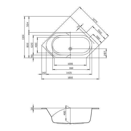 HO BW Spectra 6-Eck 1800x800, weiß - Design in Bad